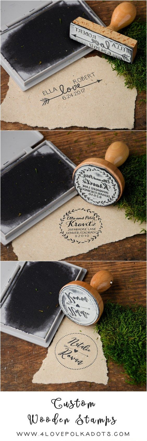 Wooden wedding custom stamps –personalized with your names and date 4lovepolkadots #weddingstamp #wood