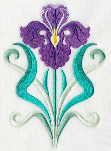 """This free embroidery design from Embroidery Library is called """"Art Deco Iris""""."""