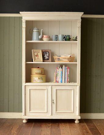 フランスの可愛いアンティーク家具、ホワイト色のキャビネット(本棚) (d-882-f-1)
