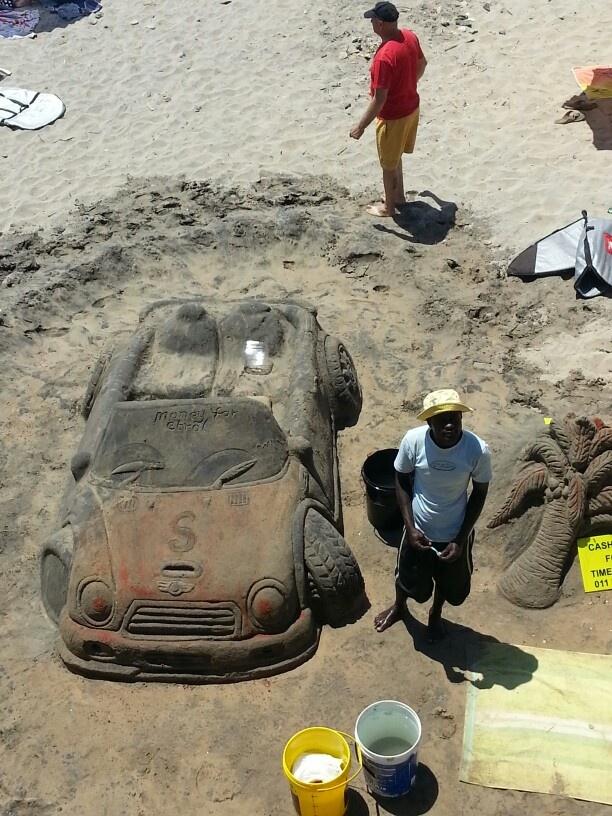 Excellent sand art, u shaka beach durban south africa