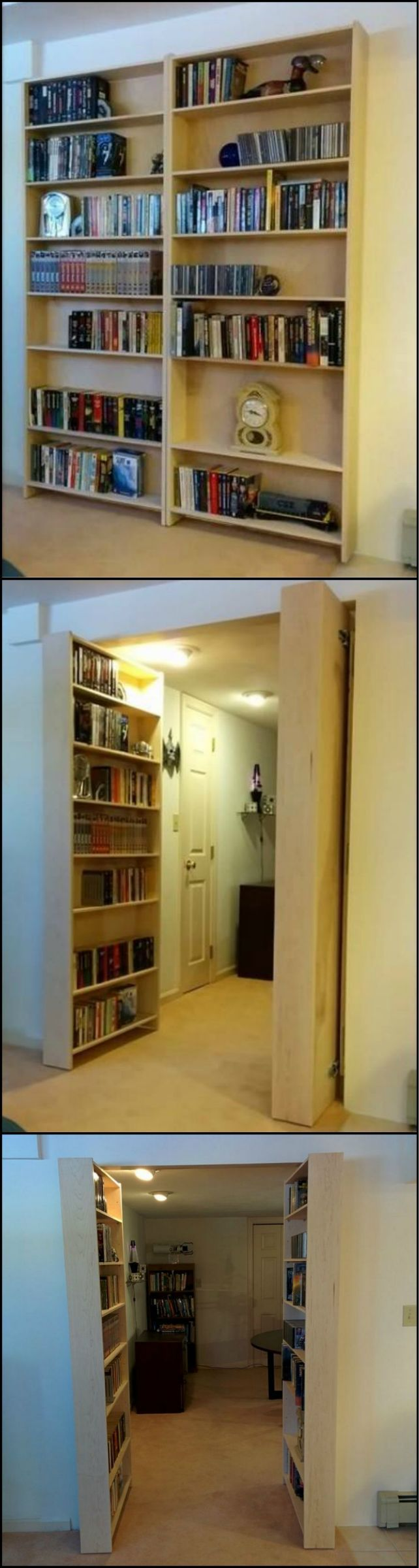 Tutorial: How To build A Hidden Bookcase Door  http://theownerbuildernetwork.co/kkwp  A bookcase that doubles as a secret door! Learn how it's made!