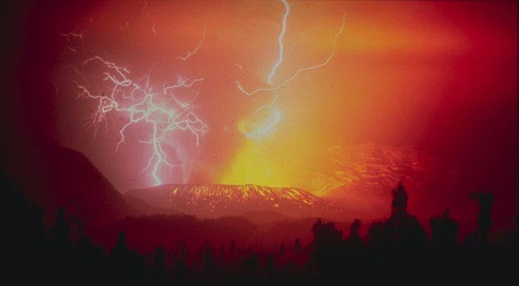 Beauty in nature: Lightning strikes during the 1982 eruption of the Galunggung volcano in Indonesia: https://en.wikipedia.org/wiki/Galunggung