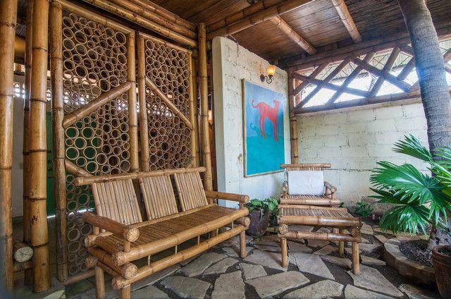 Nature Friendly Bamboo House Design: Bamboo Sliding Doors