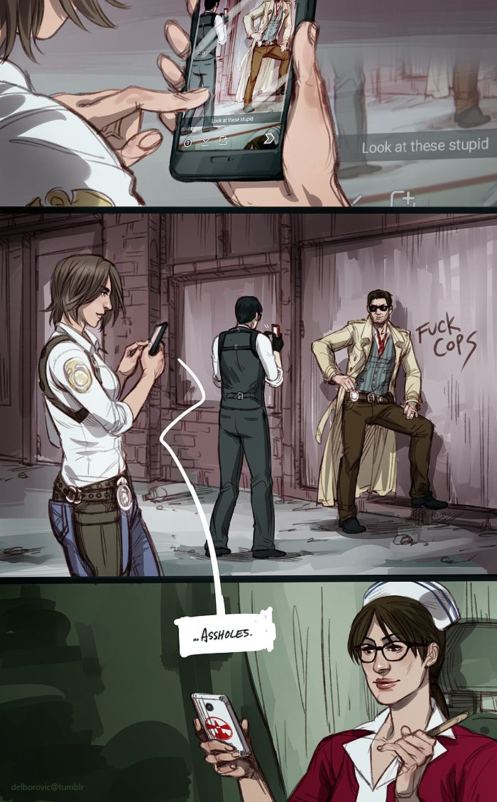 """So, what did you do at work today?"" The Evil Within art by Del Borovic"