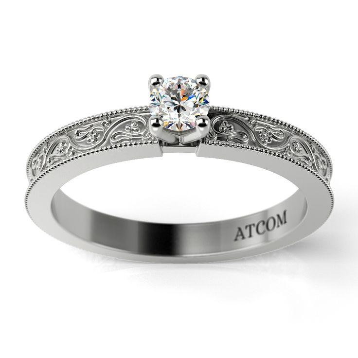 Inel de logodna cu diamant Morien din aur alb