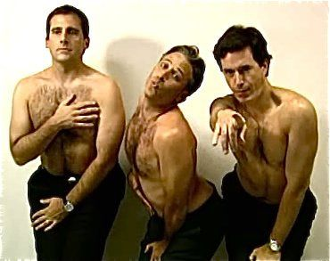 Steve Carell, Jon Stewart and Steven Colbert: How men would look if they had to pose in ads the way women are expected to.