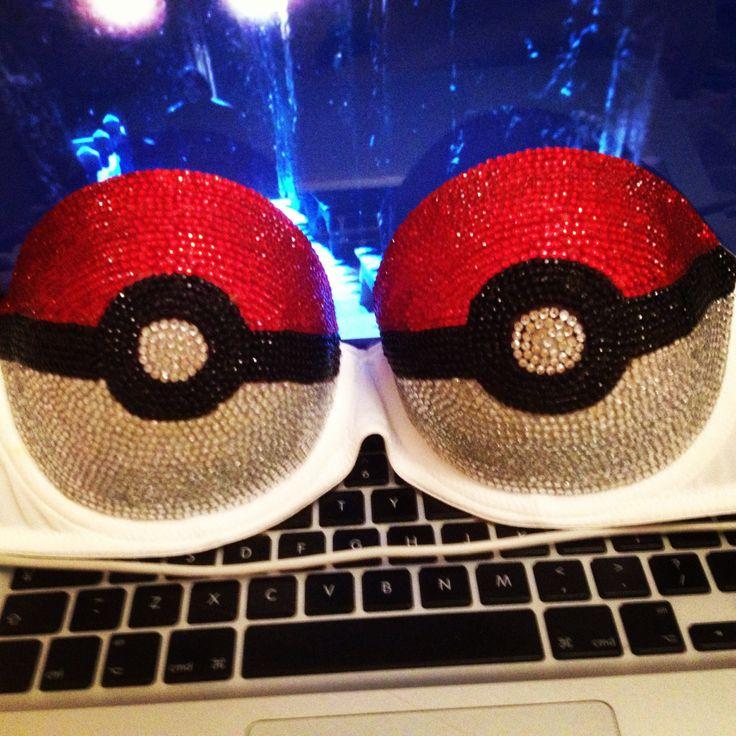 Rhinestone encrusted pokeball bra. Pokemon master! Made myself :)