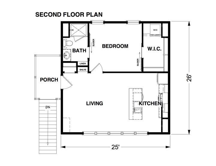 Cliffwood Garage Adu Plan One Bedroom House Garage Floor Plans One Bedroom House Plans