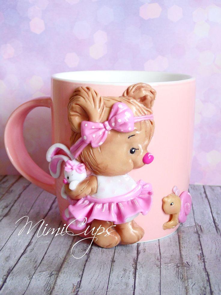 Dětský hrníček na kakao * růžoví porcelán zdobený s medvídkem z polymeru.