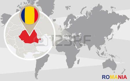 Mapa del mundo con Rumania ampliada. bandera de Rumania y mapa.