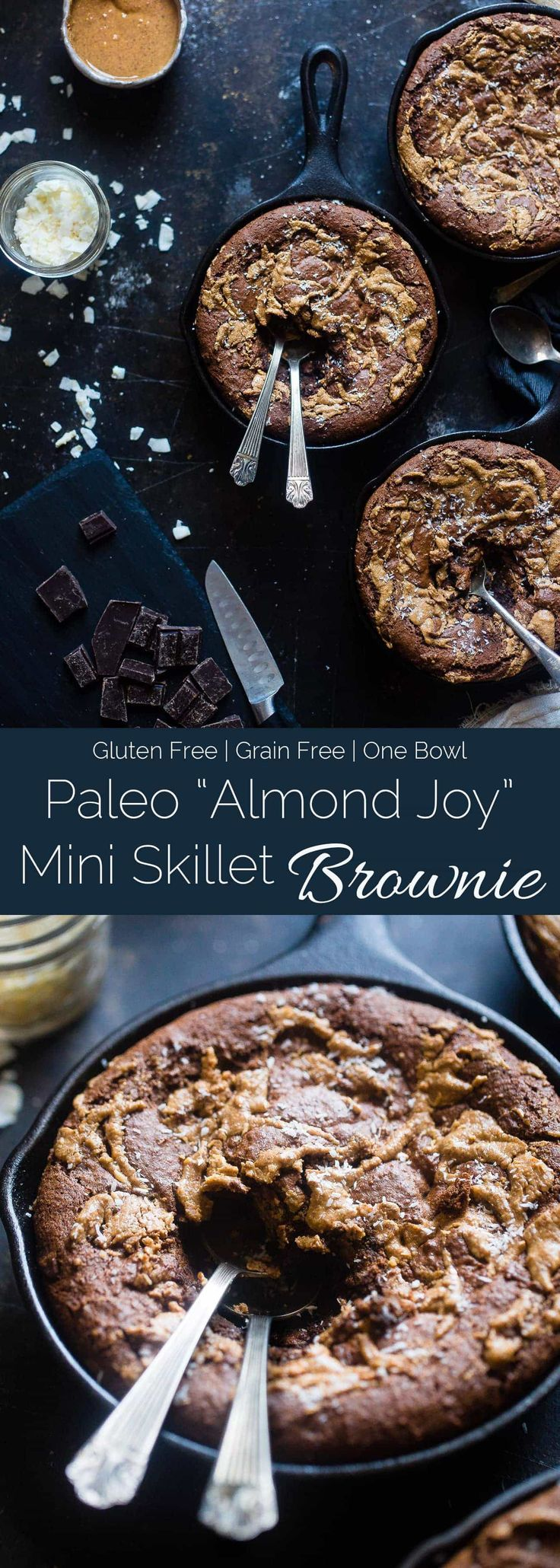 """Gluten Free """"Almond Joy"""" Skillet Brownies - These rich, fudgy coconut almond skillet brownies are made in one bowl! They're a grain free, healthier dessert that everyone will love!   Foodfaithfitness.com   @FoodFaithFit via @FoodFaithFit"""