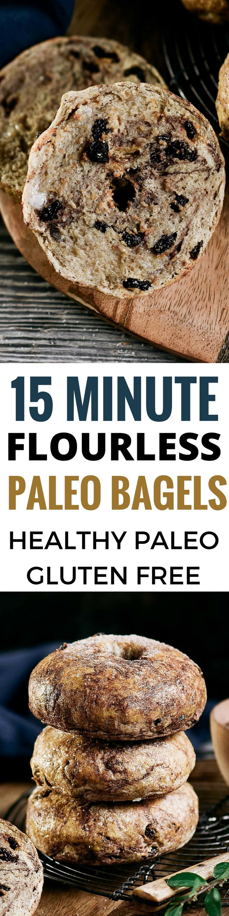15 minute Easy Paleo bagels. Best gluten free bagel recipe. Healthy bread and bagel ideas. Bagel food photography.