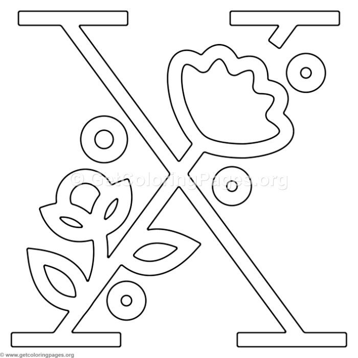 Free Instant Download Modern Flower Alphabet Letter X Coloring Pages Coloring Coloringbook Coloringpages Flower Alphabet Lettering Alphabet Coloring Pages