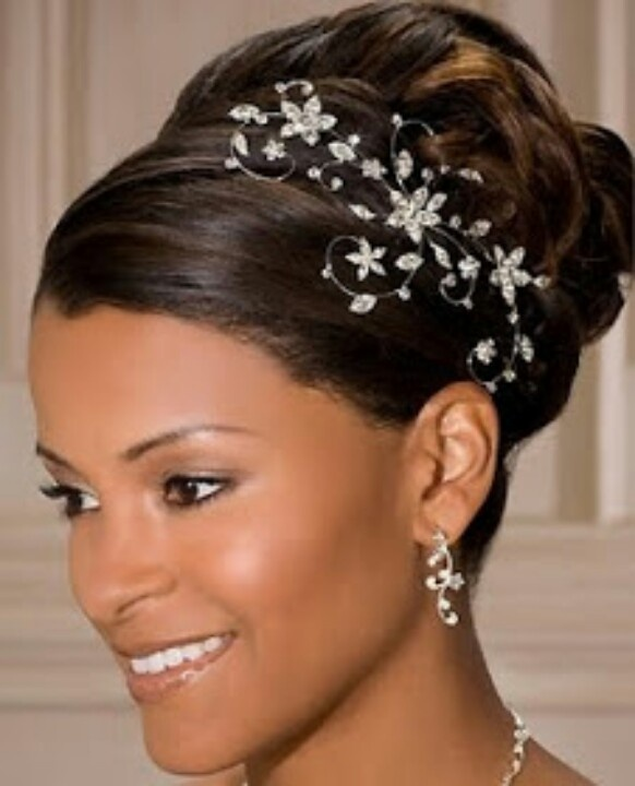Black Women Wedding Hair Style: Wedding Updo With Jeweled Hair Piece