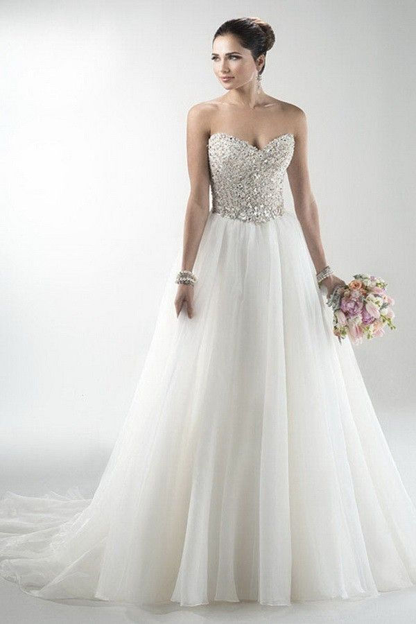 Figure-Flattering Natural Sleeveless Beading Floor-Length Bridal Wedding Dress