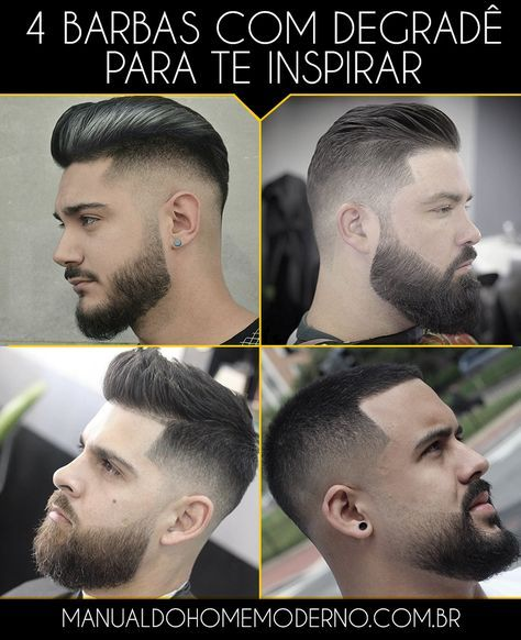 Quatro tipos de barba com degradê para você se inspirar.