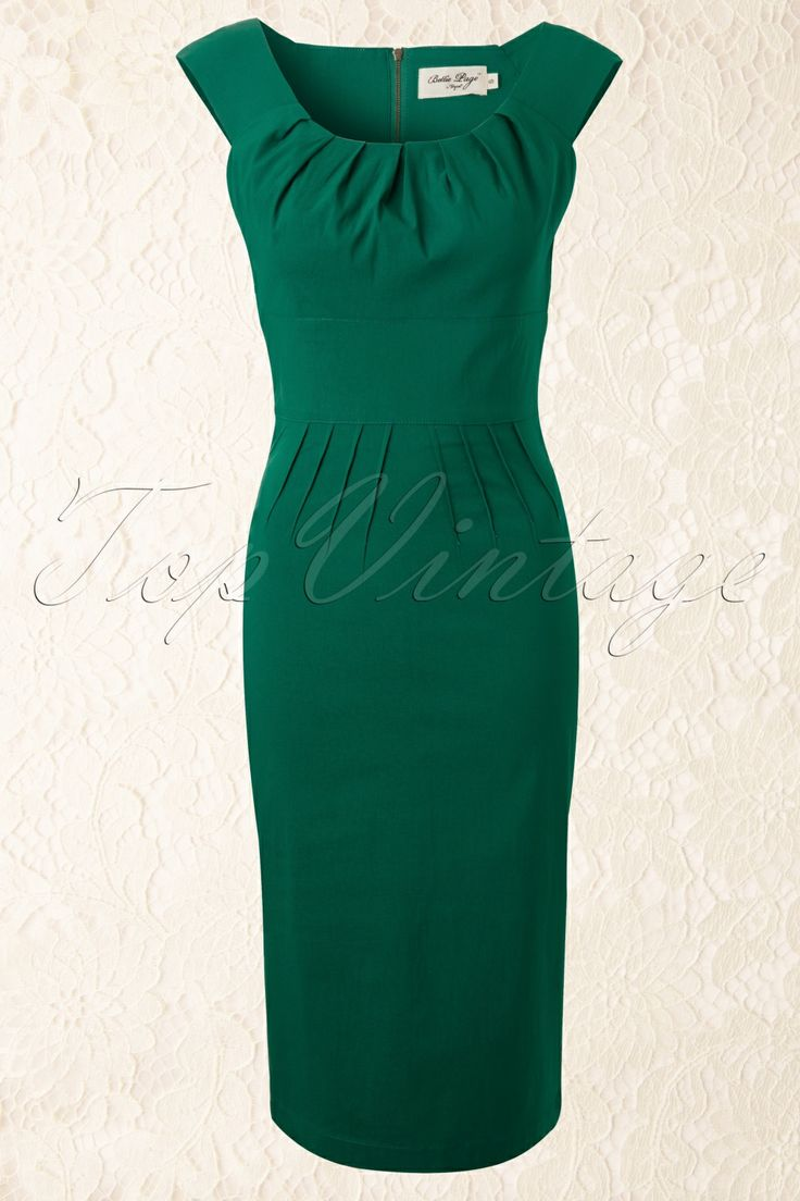 Bettie Page Clothing - 50s Holly Pencil Dress in Green