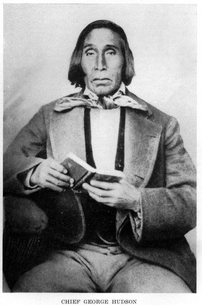 George Hudson, who became the first Principal Chief of the Choctaw Nation under the New Doaksville constitution, was a native of Mississippi where he was born in 1808. Little is known about his white father, who died before 1831.  George Hudson's mother was a full blood Choctaw Indian and appears on the 1831 Choctaw Rolls in Mississippi as Widow Hudson.