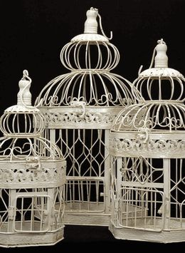 "Bird Cages (Set of 3) 21,18 & 14"" tall Cream White"