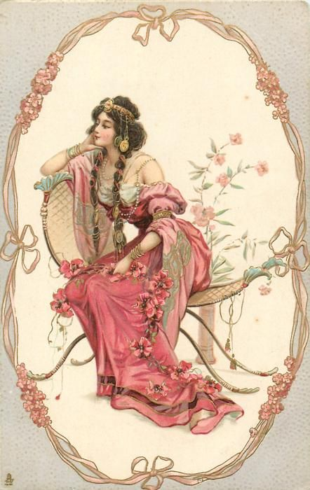 seated woman wearing red dress in oval, facing and looking left, gilt, gold nouveau forget-me-not frame, grey surround