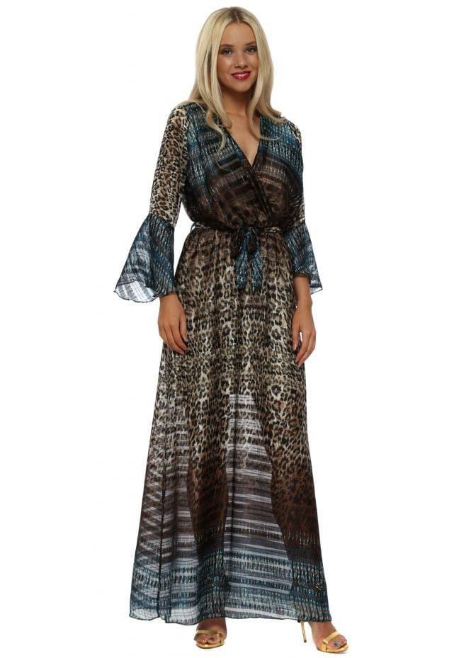024978b4295 PORT BOUTIQUE Blue Ombre Leopard Print Maxi Dress | Port Boutique in ...