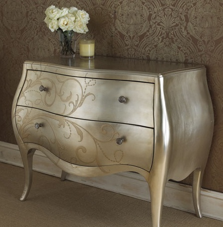 silver leave w antique glaze bombe chest/painted dresser