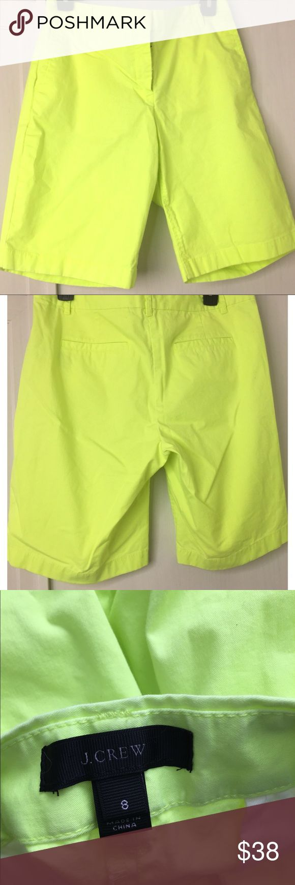 J. Crew Neon Shorts Cute neon colored shorts by J. Crew. Cross between a yellow highlighter color and green. Pockets in front and back. J. Crew Shorts Bermudas