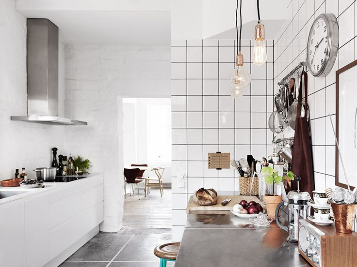 Industrial White Kitchen in Industrial Swedish Home In Former Factory - Gravity