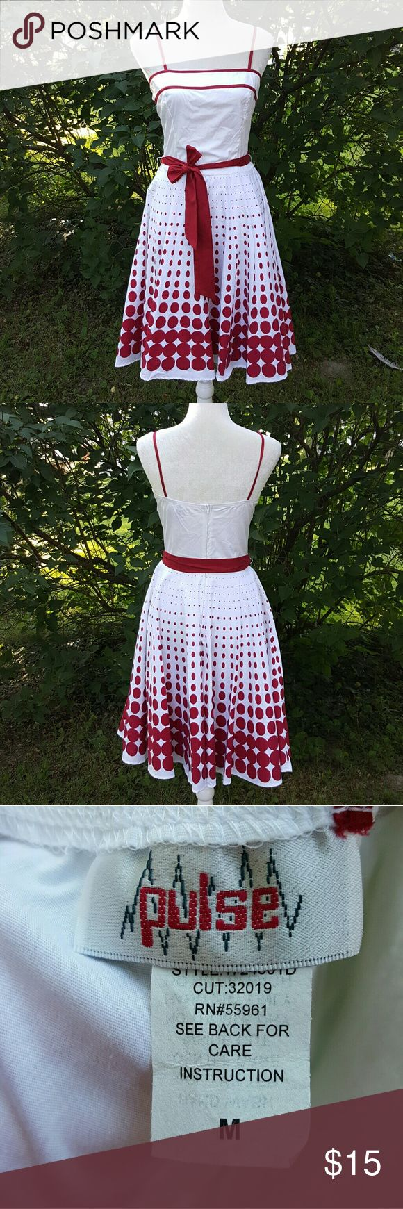 Pulse red polka dot dress Pulse red polka dot dress with tie and zip back. Excellent condition. Size medium Pulse Dresses