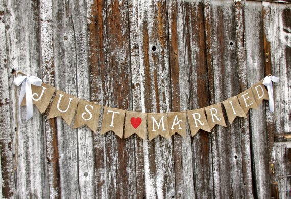 JUST MARRIED Burlap banner  - Wedding Banner - Photography shoot - Wedding reception on Etsy, $38.00