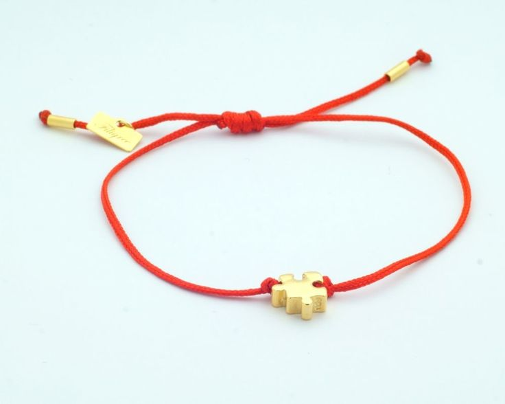 Sterling silver Red Knot Bracelet with Puzzle pendant from Filigree.pl. Click on the photo to go to our store!