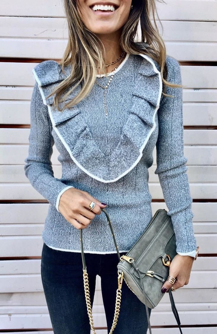 #fall #outfits women's gray round-neck long-sleeved shirt. Click To Shop This Look.