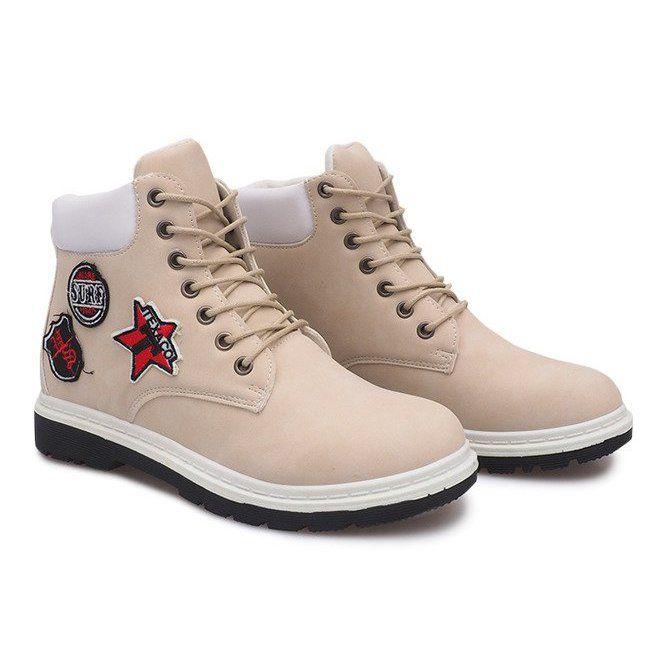 Ocieplane Timberki Trapery Sj1679 5 Bezowy Beige Trekking Shoes Women Shoes