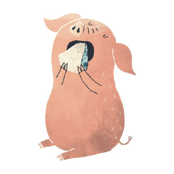 by Chuck Groenink. Dang this piggie is cute. Love the texture, the simple white lines for definition. Perfect.