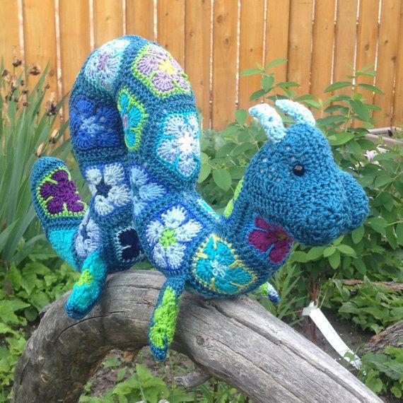 Custom Handmade Crochet African Flower Ogopogo by Lineandloops