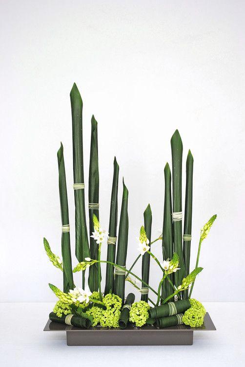 Ikebana moderne par Thai Thomas Mai Van (Artcraft) par Thai Mai Van Cette composition florale moderne a été réalisé par Thai Thomas Mai Van, Artisan d'Art, Designer floral, Professeur d'ikebana Ikenobo basée sur la verticalité et le parallélisme, inspirée par l'artiste Korin Ogata (1658-1716) de l'école japonaise de peinture décorative Rimpa. Elle s'appuie sur une technique de roulage des feuilles d'Aspidistras