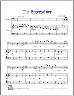 The Entertainer by Scott Joplin   Free Sheet Music for Trombone - http://makingmusicfun.net/htm/f_printit_free_printable_sheet_music/the-entertainer-trombone.htm
