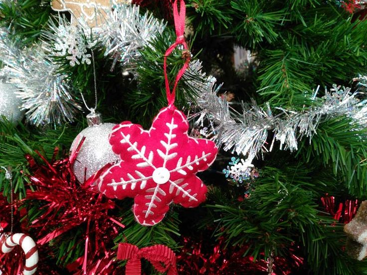 Shabby chic vintage felt Christmas decorations
