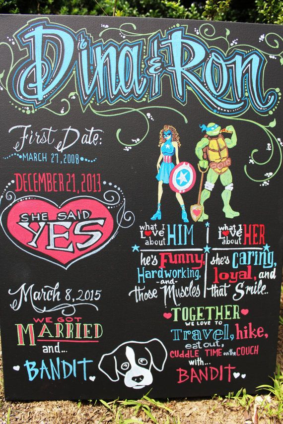 24x18 Custom Hand-Painted Wedding Chalkboard Poster on Canvas Marvel Captain America and Ninja Turtle Leonardo