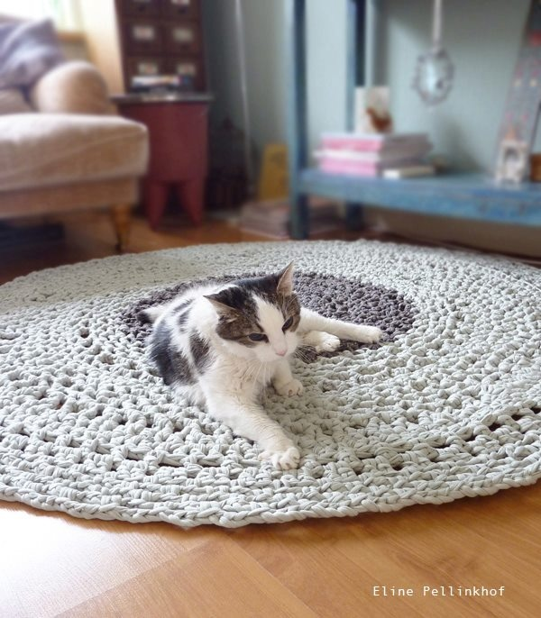 El blog de Dmc: Ganchillo y tricot XXL con Hoooked Zpagetti - love the rug and cat <3