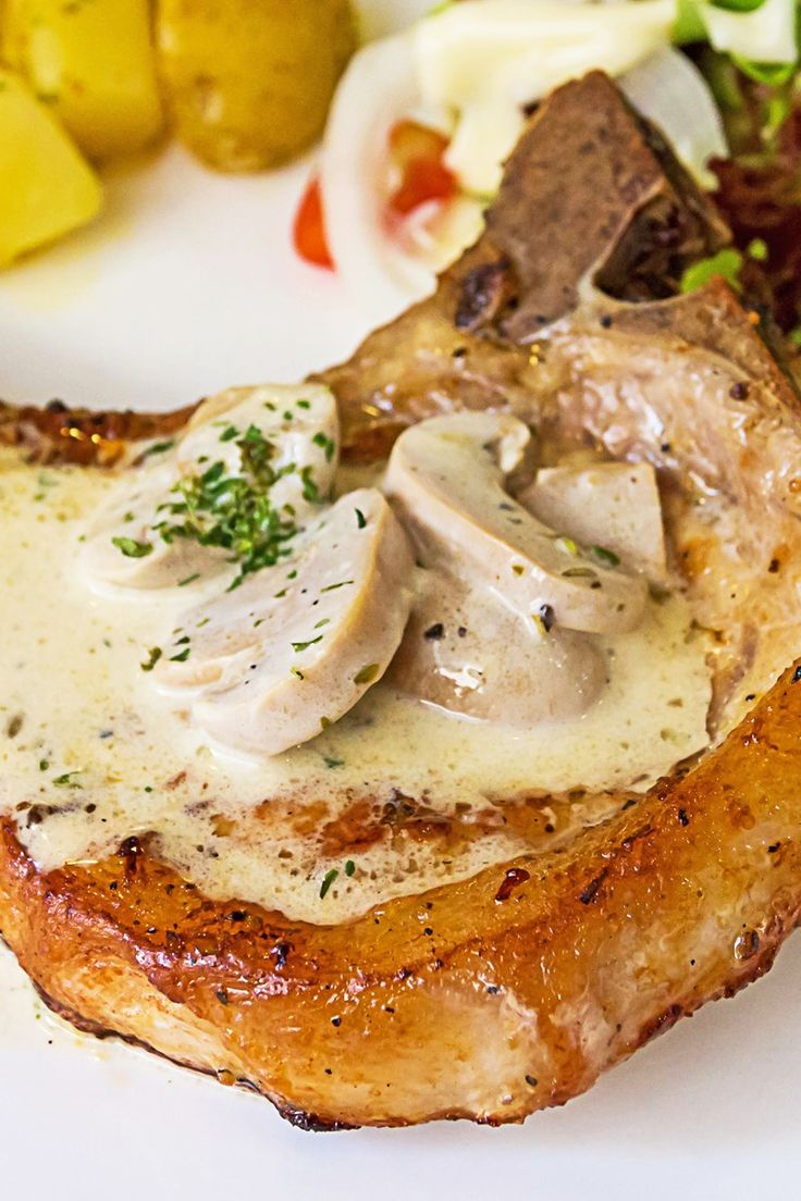 Gravy Baked Pork Chops With Mushrooms Recipewith Onion