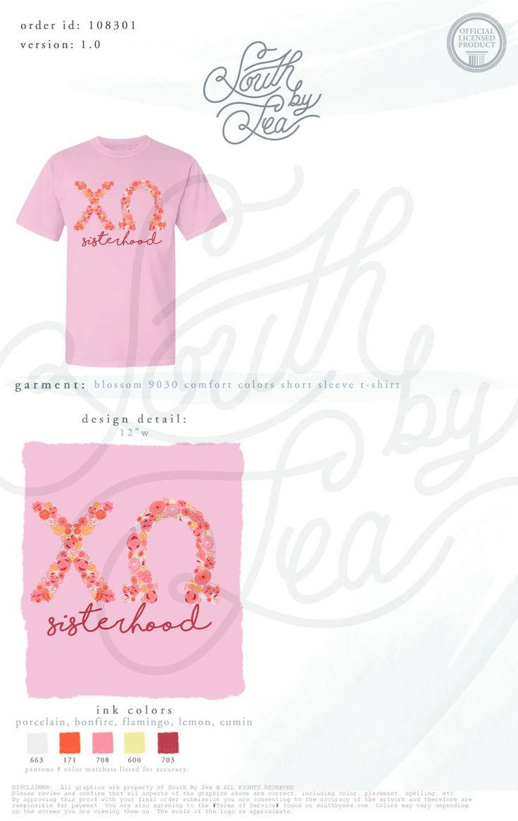 T shirt design quad cities - Chi Omega Floral Letters T Shirt Design Sisterhood T Shirt Design
