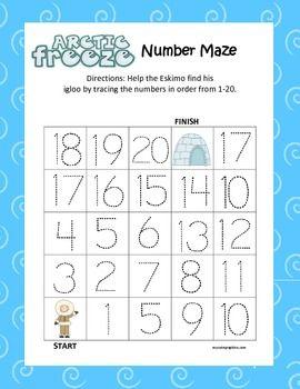 Arctic Kindergarten Common Core Leveled Number Tracing Mazes