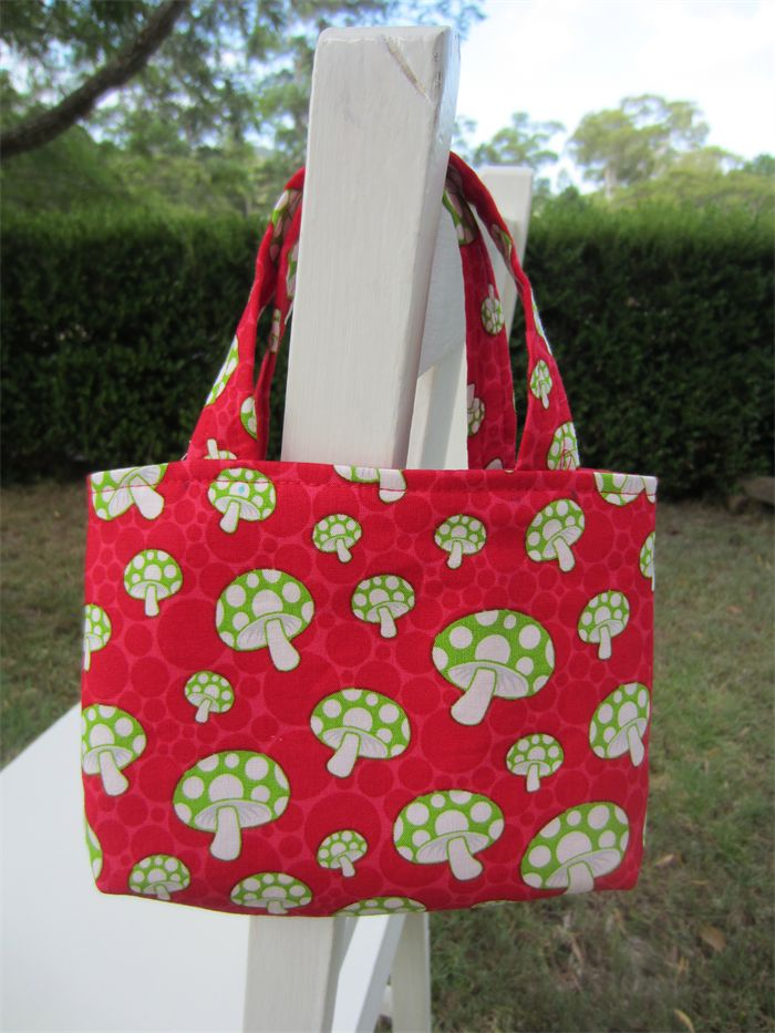 Girls Bag - Red with Green & White Mushrooms, Red Handles | LittleStarrs |