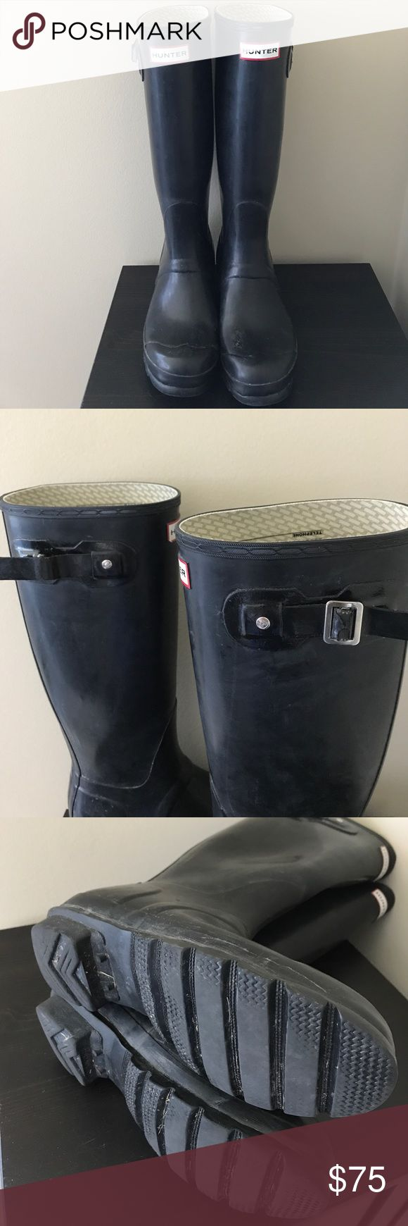 Original tall Hunter rain boots black gloss Black Hunter Boots Women's Size 7, Men Size 6. Missing a buckle on the right boot that I do have and will send with order (only reason that I'm selling for cheap). It could easily be glued on! Other than that, near perfect condition! The inside is still in tact completely and the soles are 100% good with no holes! Will Include boot socks! Hunter Shoes Winter & Rain Boots
