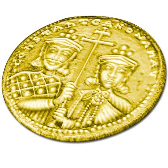 """Υour lucky coin! The so-called """"Constantinato"""" has Byzantine origin, it is either gold-plated or silver, and it is said by our people to be miraculous. Get yours now in silver 925° or in gold-plated silver with 24 carats, to hide it into the New Years cake, the famous """"Vassilopita"""" or offer it as a gift to newlyweds, to a mother in labour or a newborn baby ... to bring them luck! This """"Constantinato"""" is crafted by hand, casted in silver 925° and plated with 24 carats gold. Diameter: 2,5 cm"""