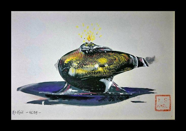 Krzysztof Sławomir Król, 4629, Kaganek, 12x18 cm, Tempera,tusz, pastel, collage,2017 I Oil lamp