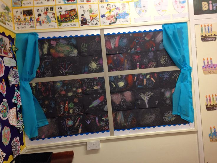 The children worked with chalk on black sugar paper after watching a firework display on the IWB and moving like fireworks in the hall.  We added curtains and window frame. The kids loved it.  A great display for fireworks night.