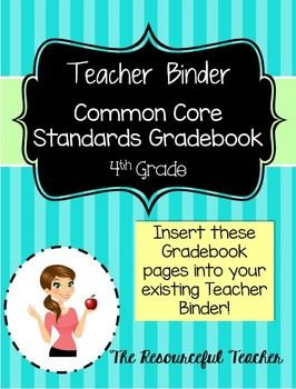 th and glasses Gradebook Binder Teacher Core Common Grade Core Language Standards contact walmart English Common Grade  th Math  Arts
