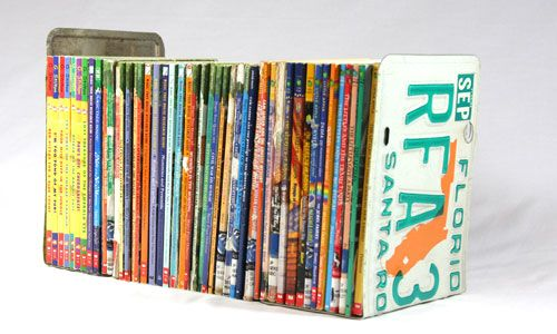 license plate bookends